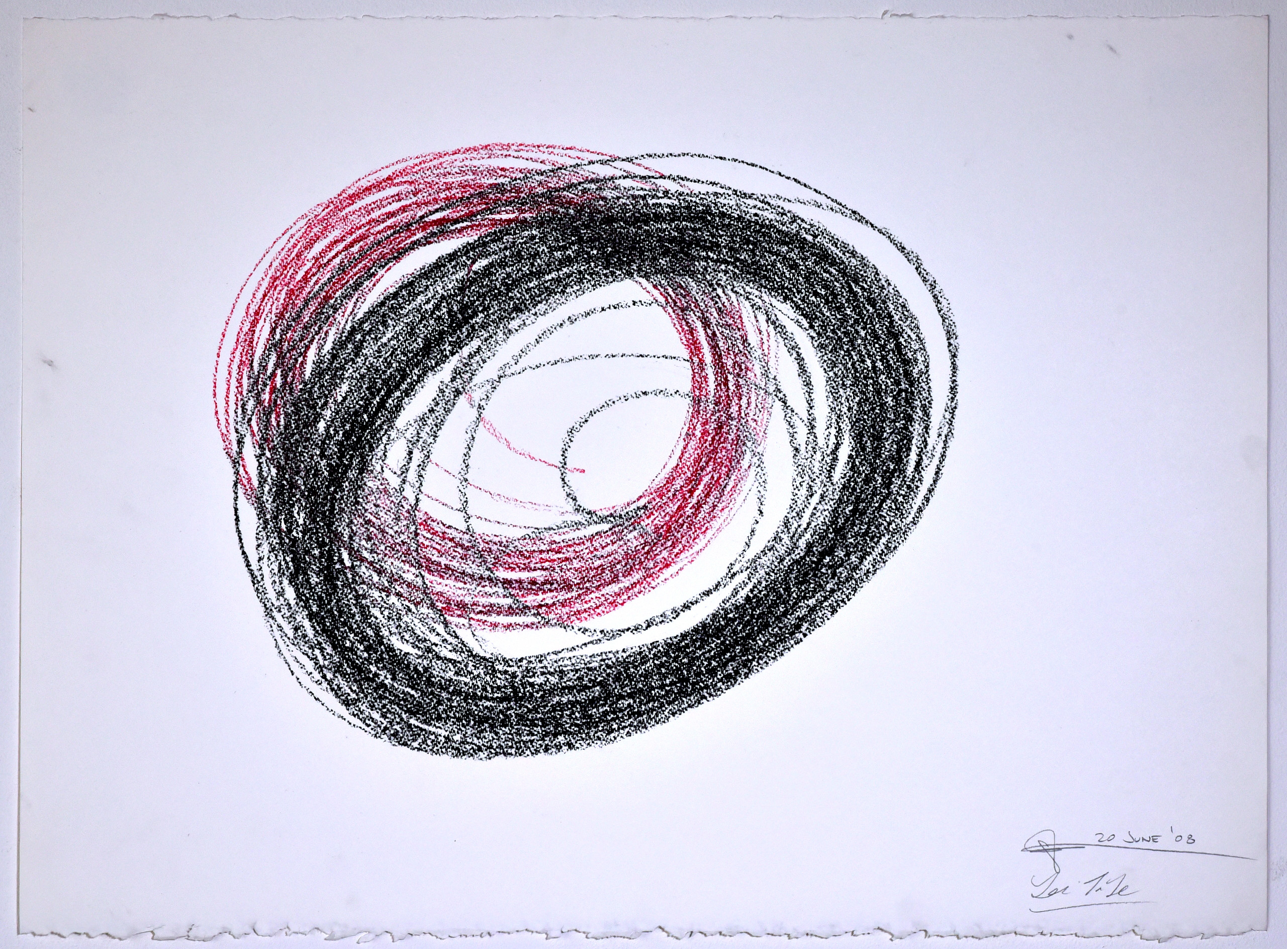 """Automatic Drawing #11, 20 June 2008, conte crayon on paper, 22x30"""", Lee Tuyet Le & Glenn Zucman"""