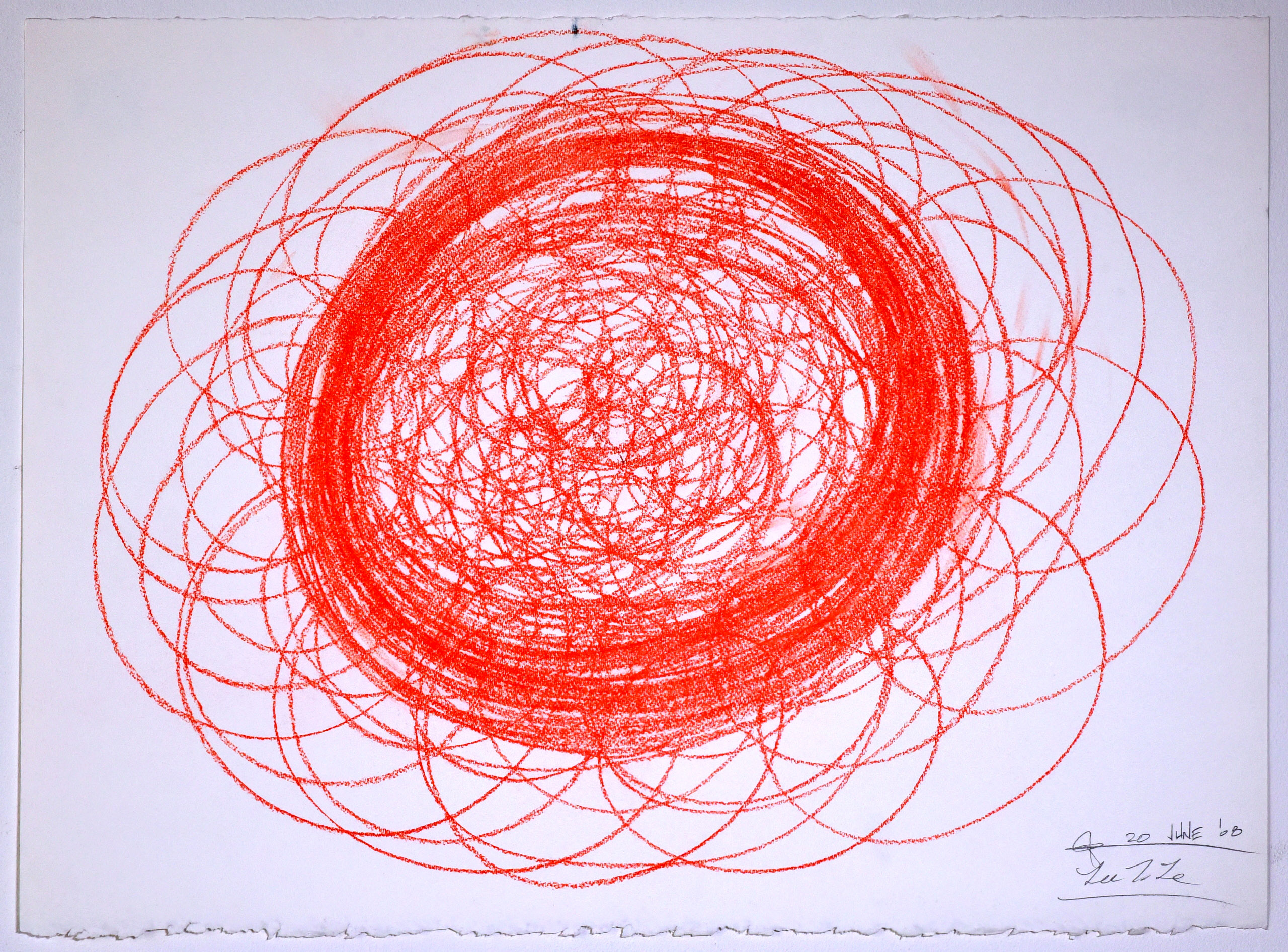 """Automatic Drawing #12, 20 June 2008, conte crayon on paper, 22x30"""", Lee Tuyet Le & Glenn Zucman"""