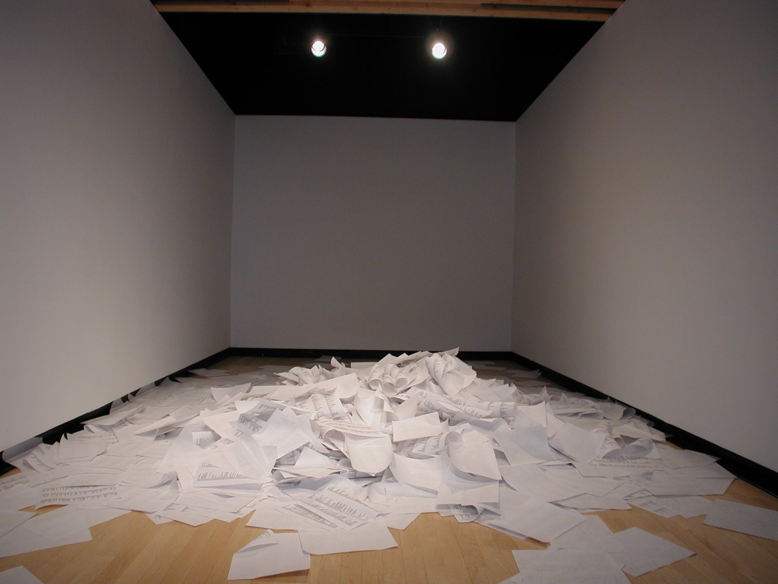 thousands of sheets of paper fallen in a sinusoidal distribution in an art gallery