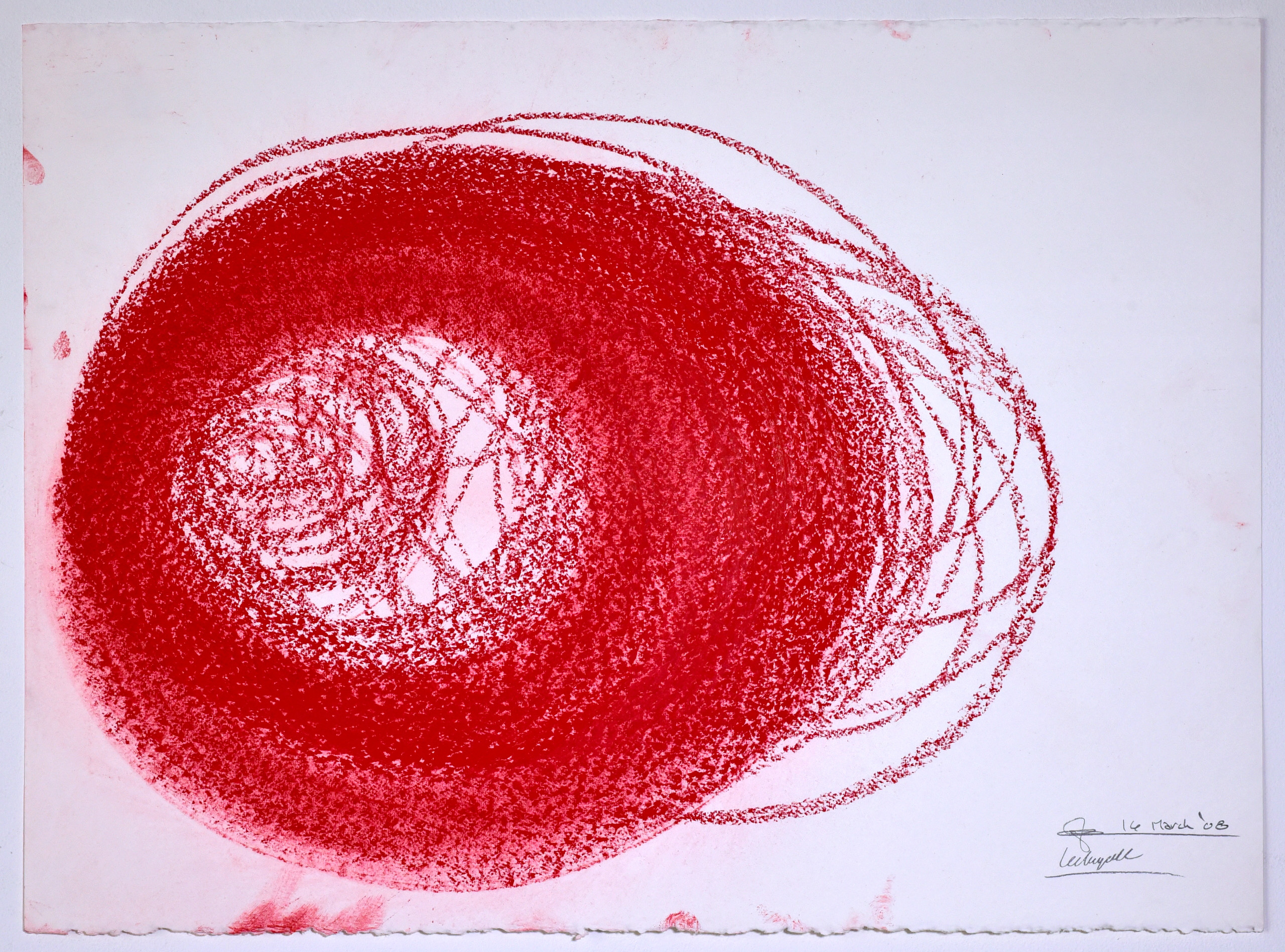 """Automatic Drawing #2, 16 March 2008, conte crayon on paper, 22x30"""", Lee Tuyet Le & Glenn Zucman"""