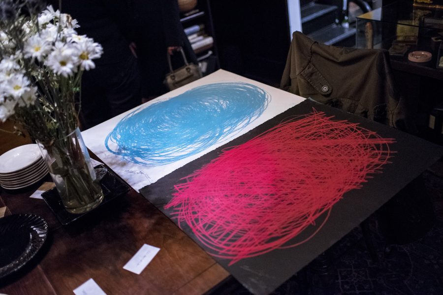 Cintia Segovia & Glenn Zucman's finished drawing diptych on display on the lobby table at Tom of Finland Foundation, Los Angeles on Saturday, 27 May 2017.