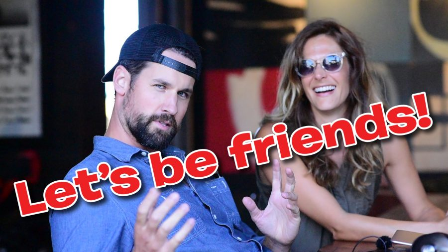 """Lauren & Clancy at Deus Ex Machina in Venice, CA, making a vlog to Skynet. Superimposed is the text """"Let's be friends!"""""""