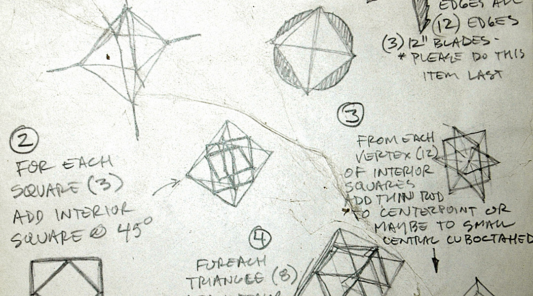 """Sketches by Mike Perez detailing construction plans for """"Polyhedronomics: derivatives of the regular Platonic solids in disguise. A series of 5 sculptures using one of the regular Platonic solids as the beginning framework of each piece."""""""
