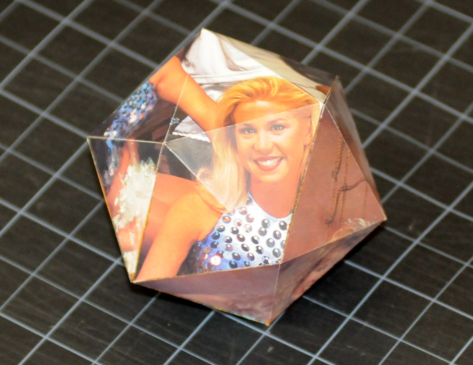 a paper model of an icosahedron