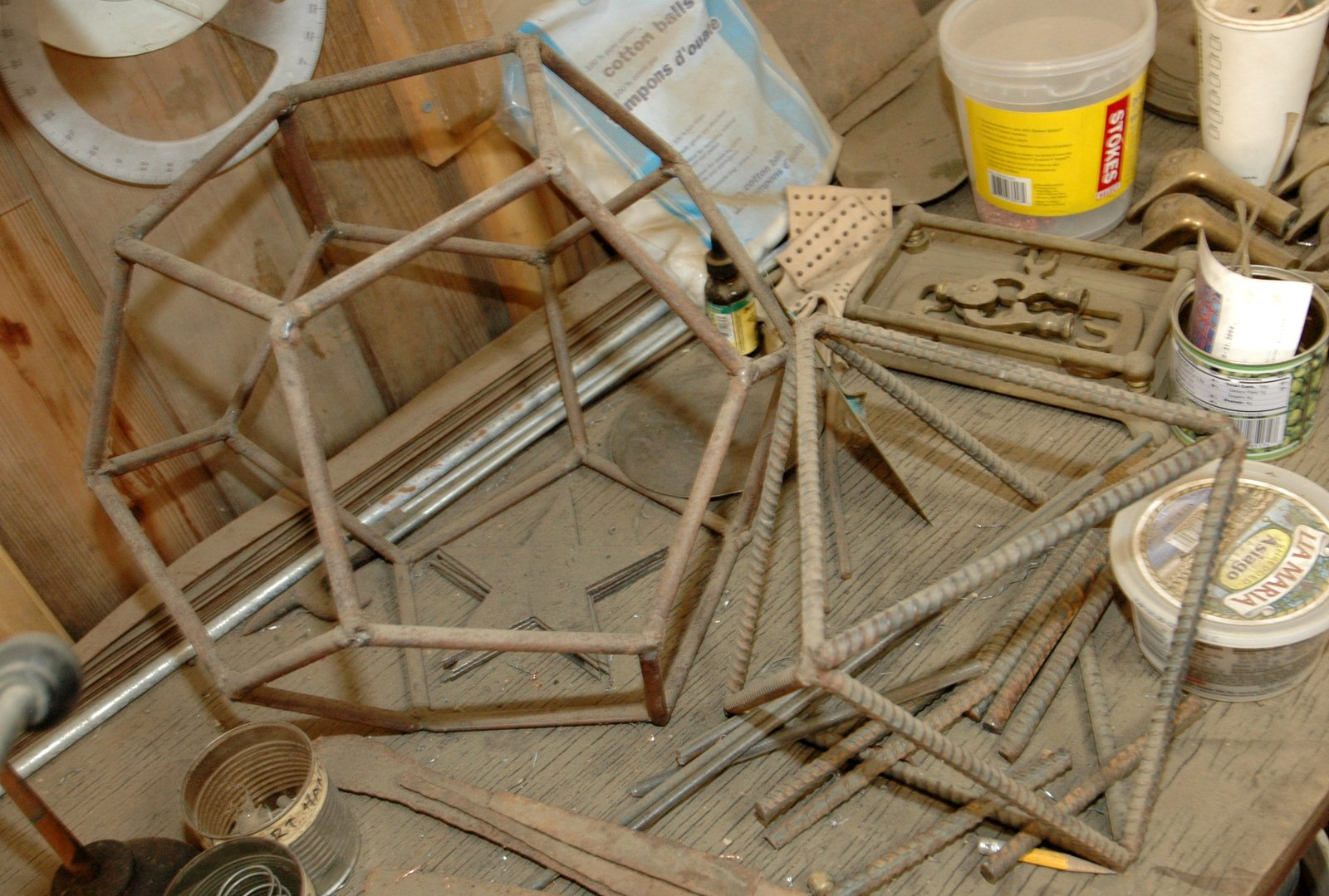 """Welded steel armatures of the Platonic Solids """"Octahedron"""" and """"Dodecahedron"""""""