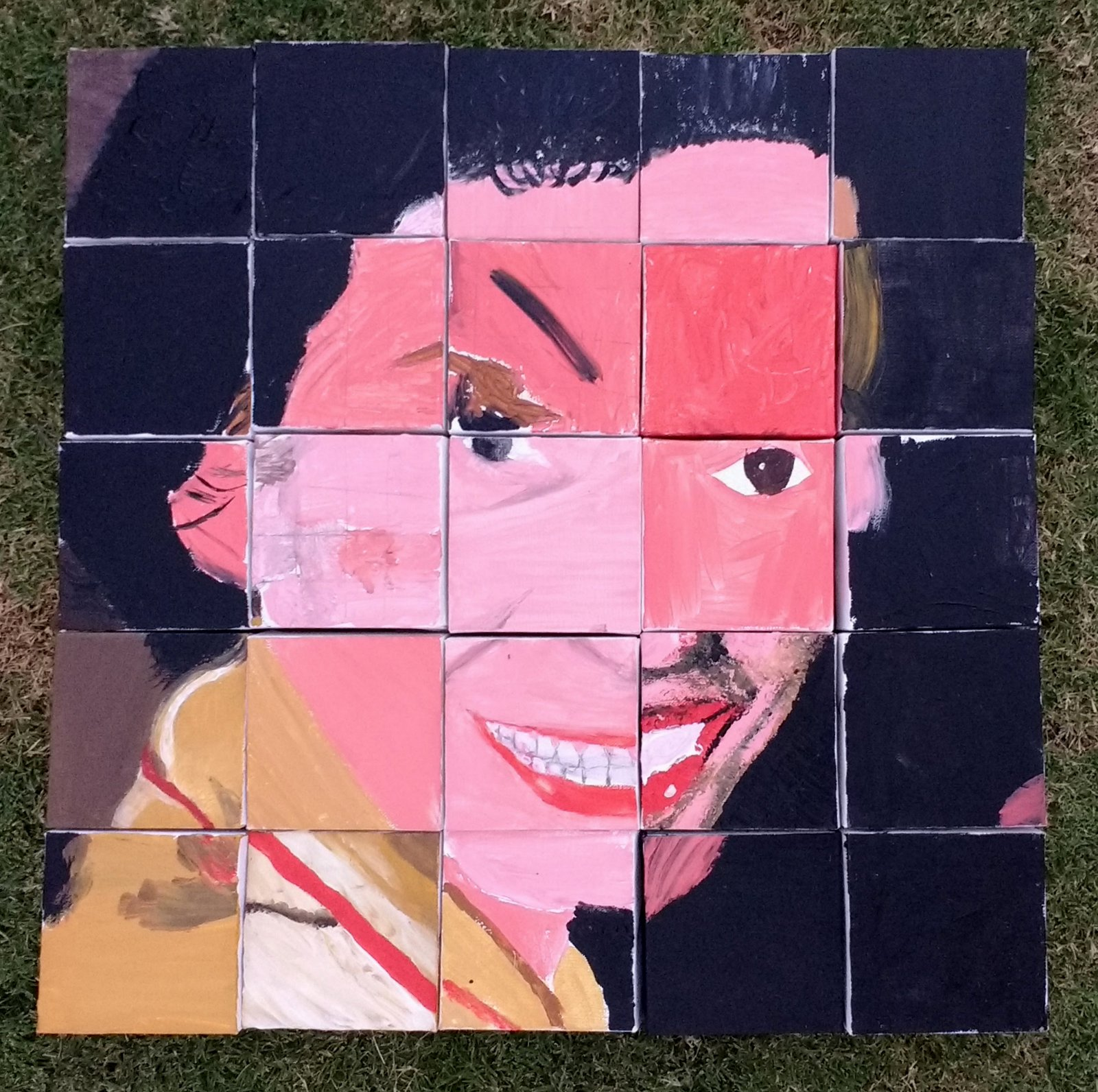 25 small canvases arranged in a 5x5 grid to make a portrait