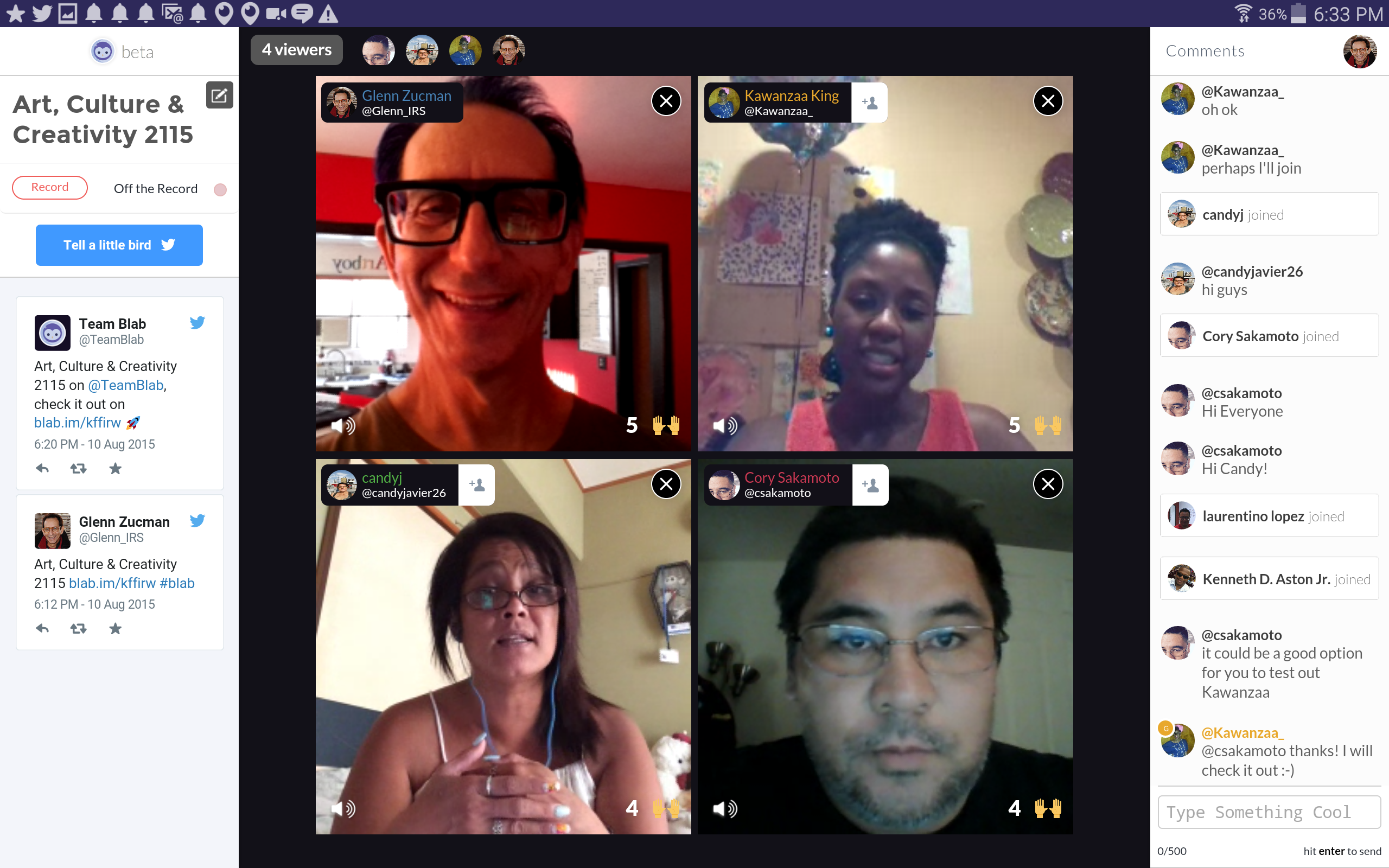 screencap of Blab streaming video app. Shows 4 video frames with chat on sidebar