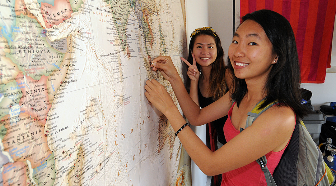 Placing a map tack in a 10' wide National Geographic 2015 map of the world