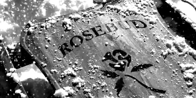 "Image from Citizen Kane showing the ""Rosebud"" sled"