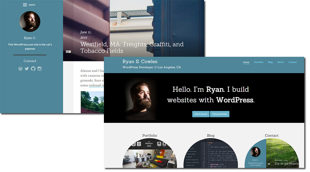 screen cap of 2 of Ryan Cowles websites