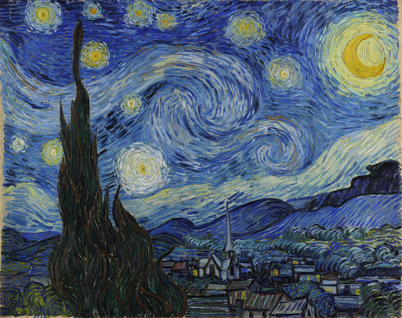 Vincent van Gogh's Starry Night painting featuring  a post-impressionistic view of a blue-toned night sky