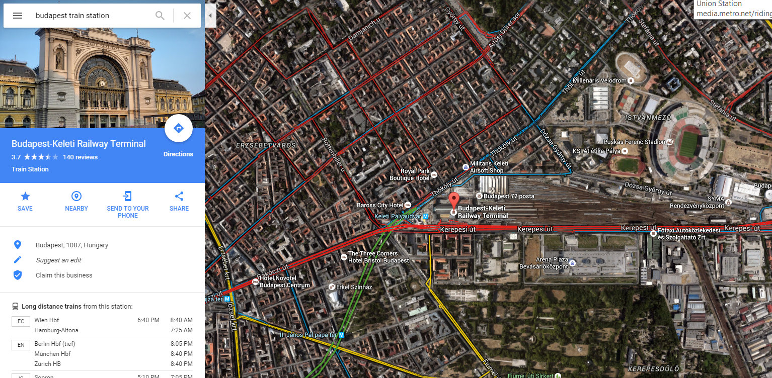 Google Map of the Budapest Train Station