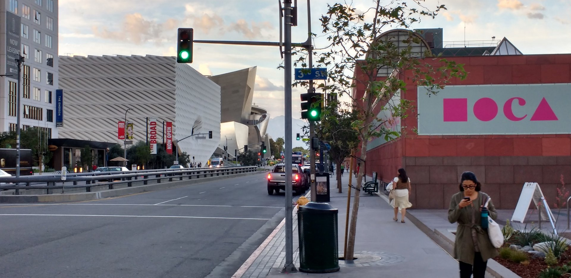 Grand Avenue in Downtown Los Angeles featuring MOCA, The Broad Museum, and Disney Hall