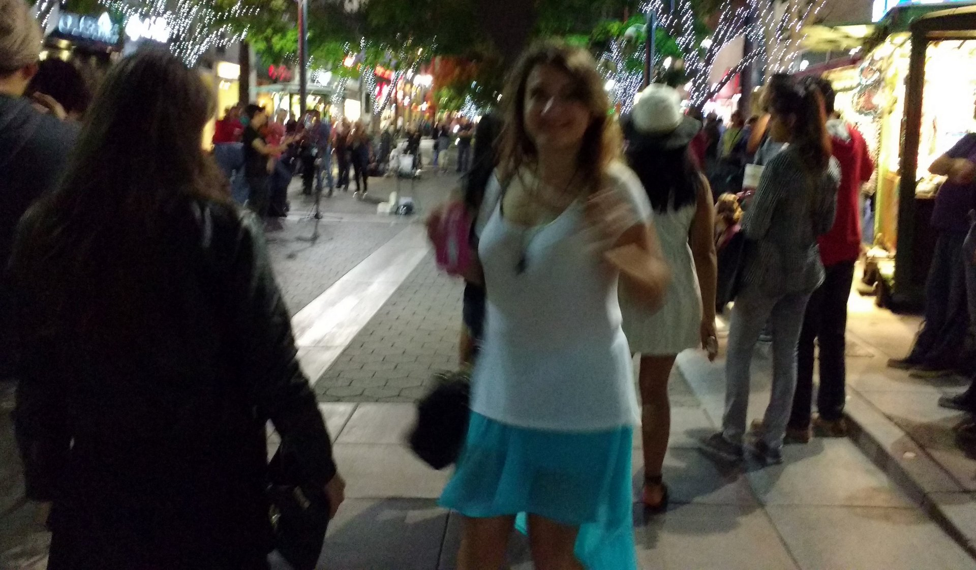 Elena dancing in the street at the 3rd Street Promenade in Santa Monica, CA