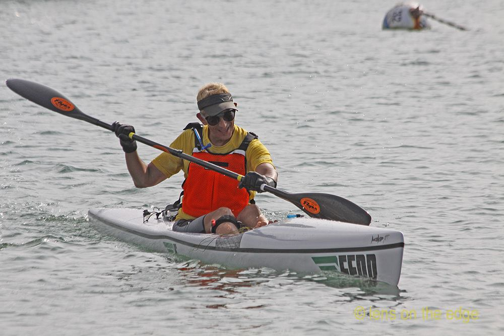 Glenn Zucman paddling a Fenn Surf Ski in Newport Harbor at the Sam Couch Memorial Race in October 2015