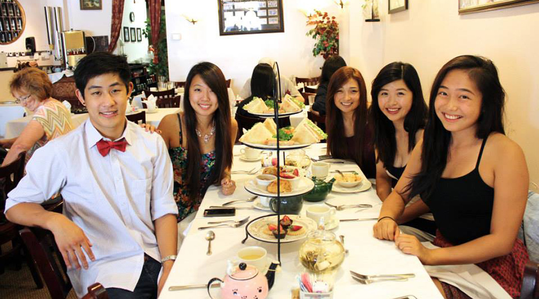 5 young people having high tea at Chado Tea Room