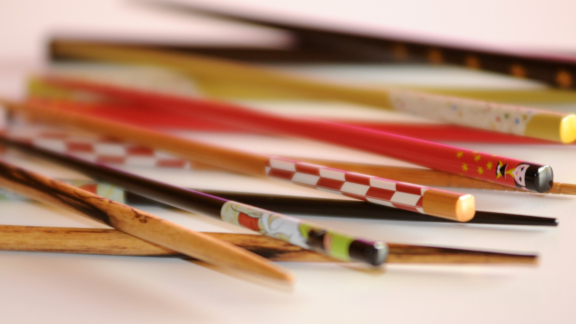 photo of different designs of chopsticks