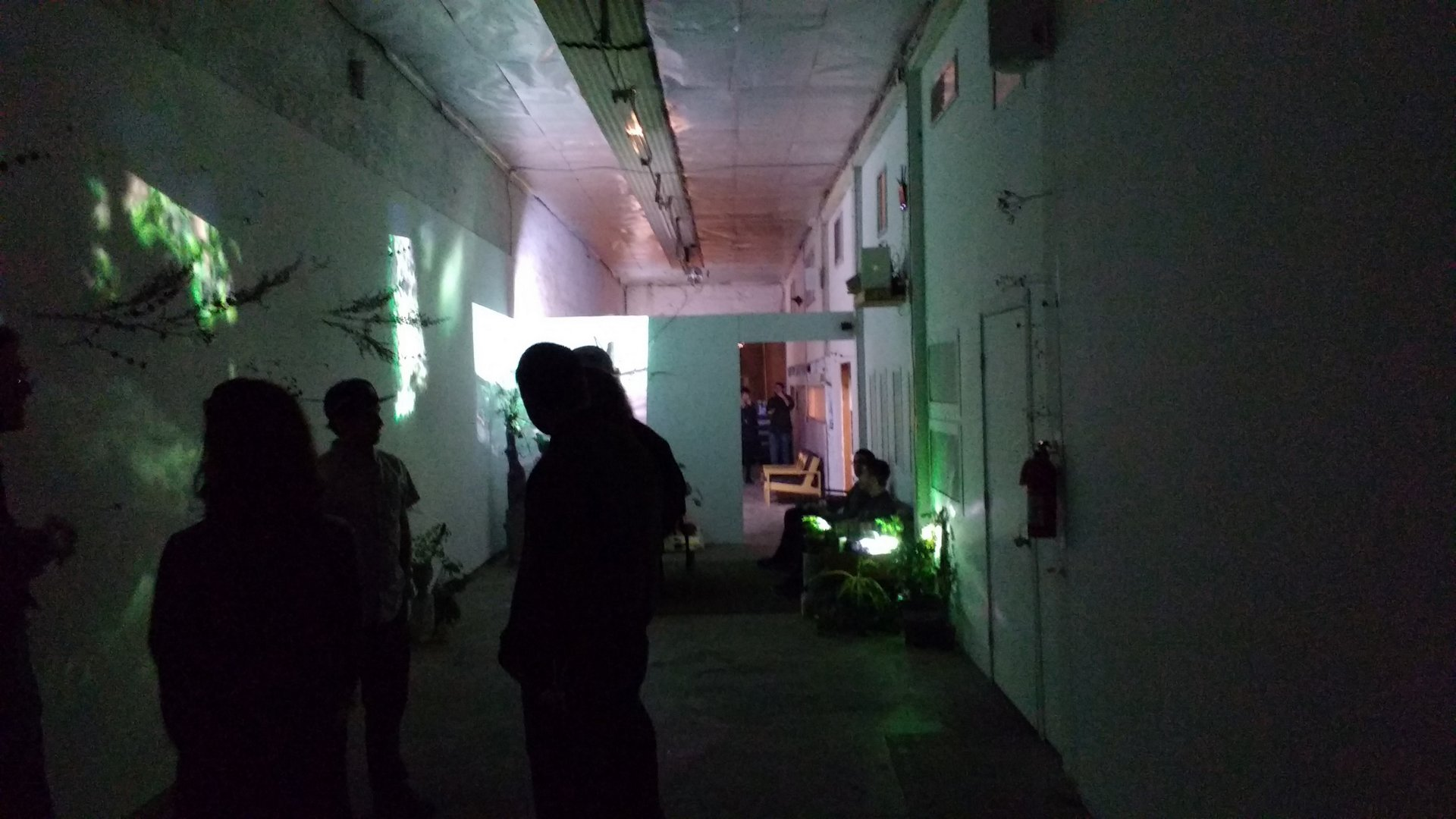 view down the long, narrow art space at 1255 6th street in Los Angeles