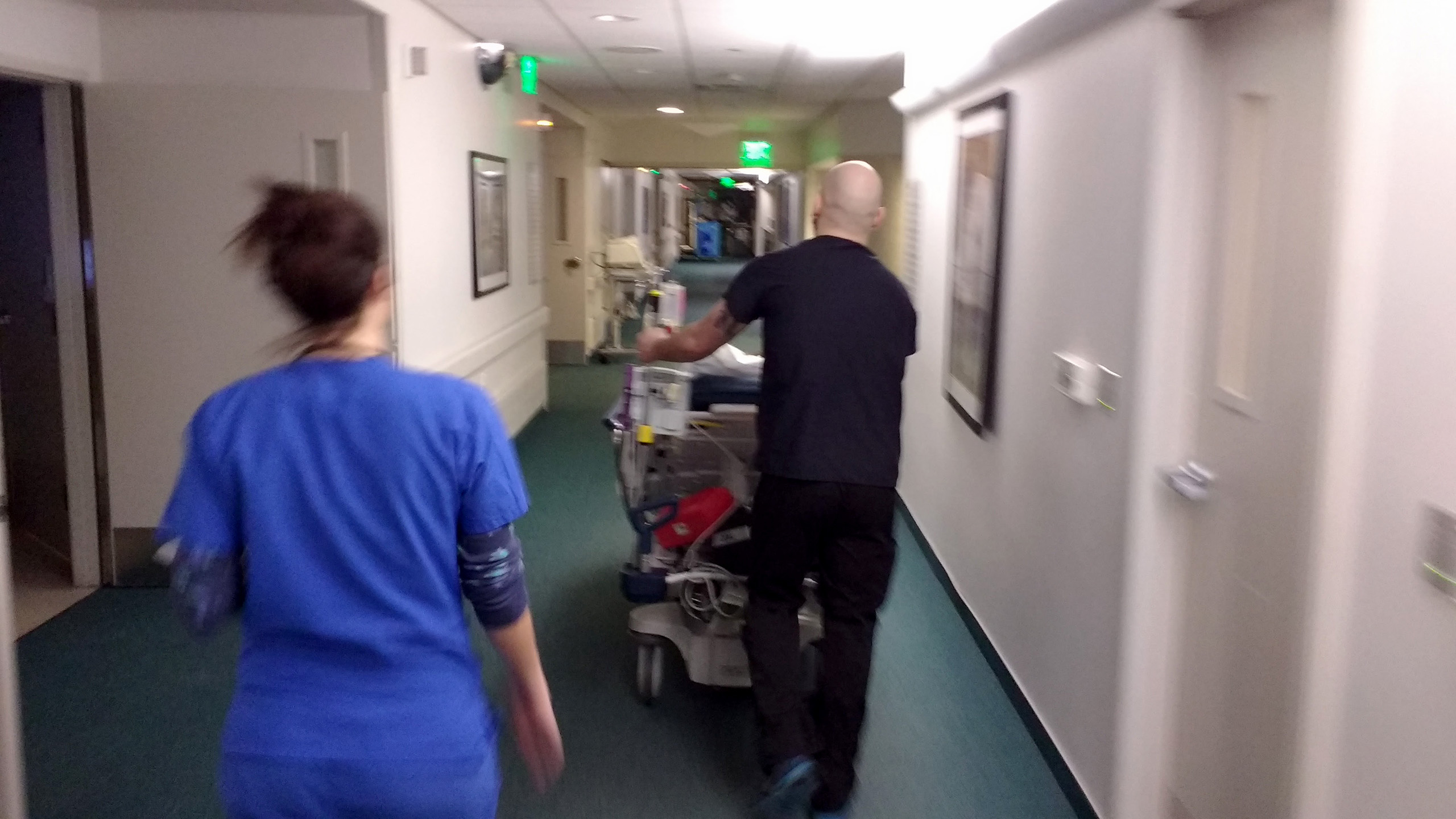 gurney in a corridor at PIH Whittier