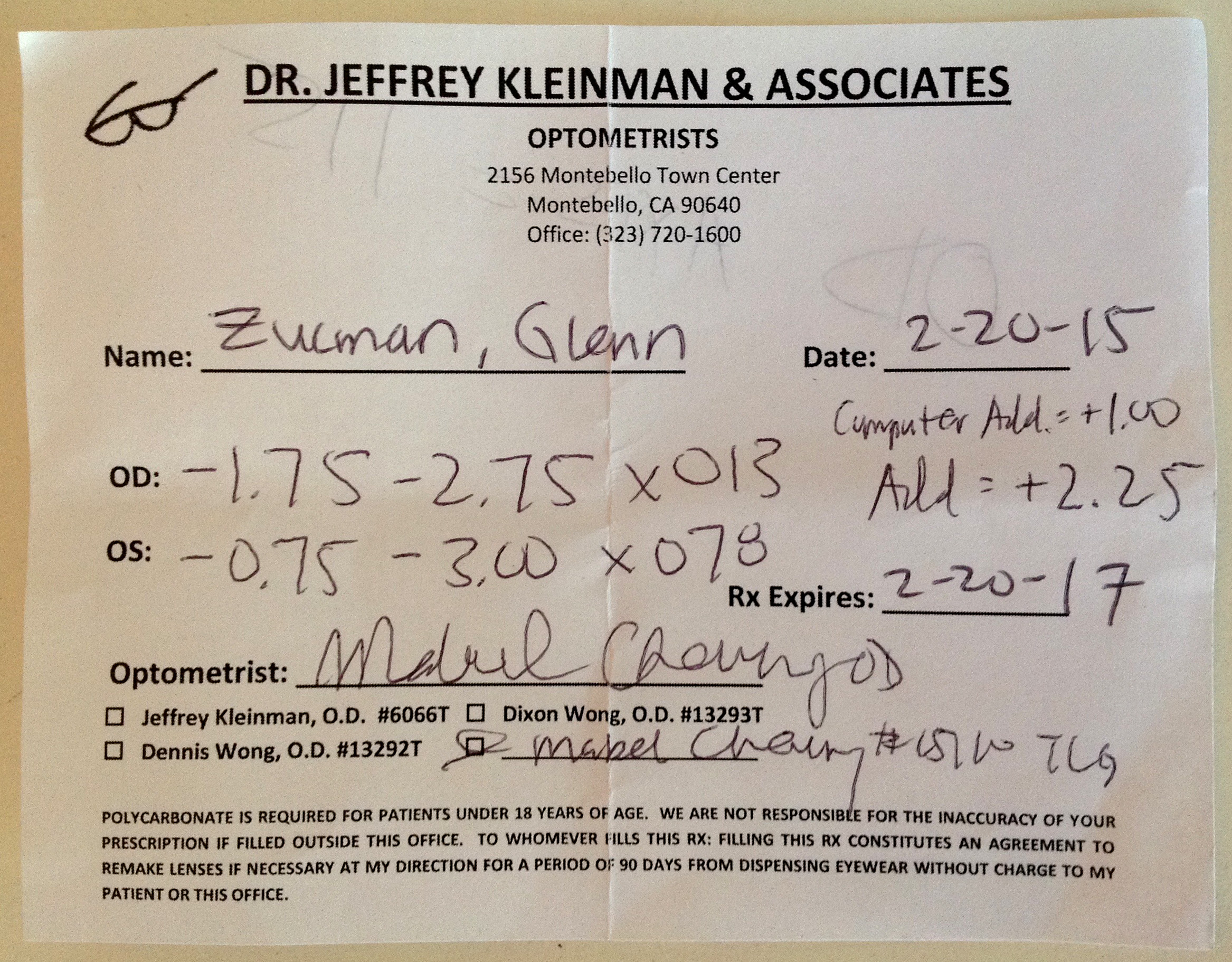 Bad eye prescription written by Dr. Jeffrey Kleinman & associates