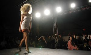 model walking down a runway