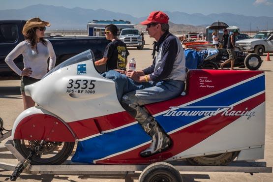 Ralph Hudson on a motorcycle at Bonneville Salt Flats