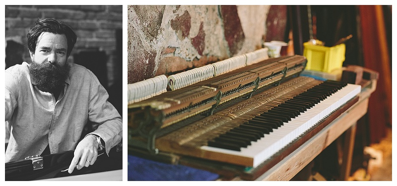 "Photo diptych: a portrait of Rick Feck and a ""portrait"" of an upright piano"