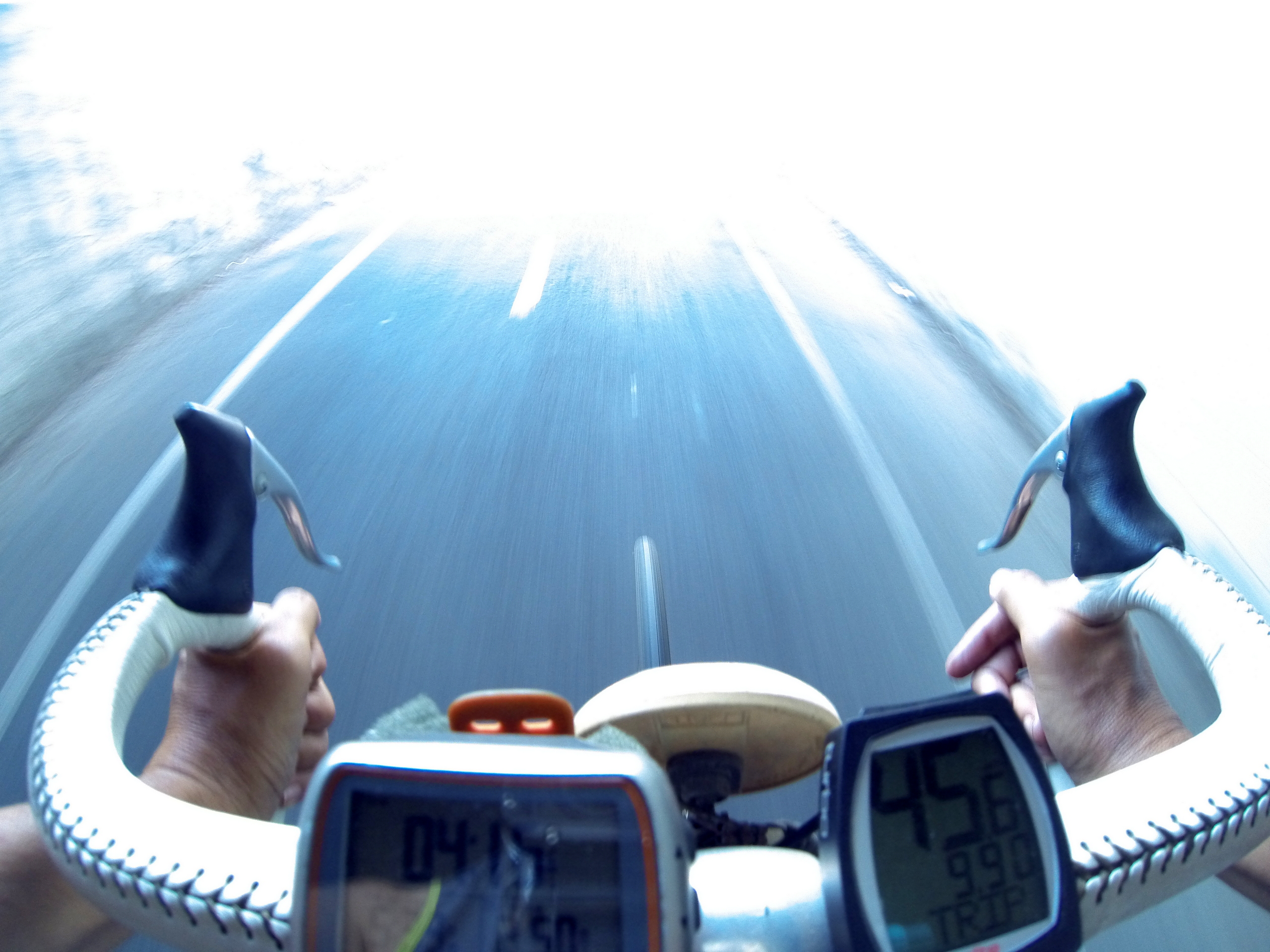 photo from a GoPro camera mounted on bicycle handlebars