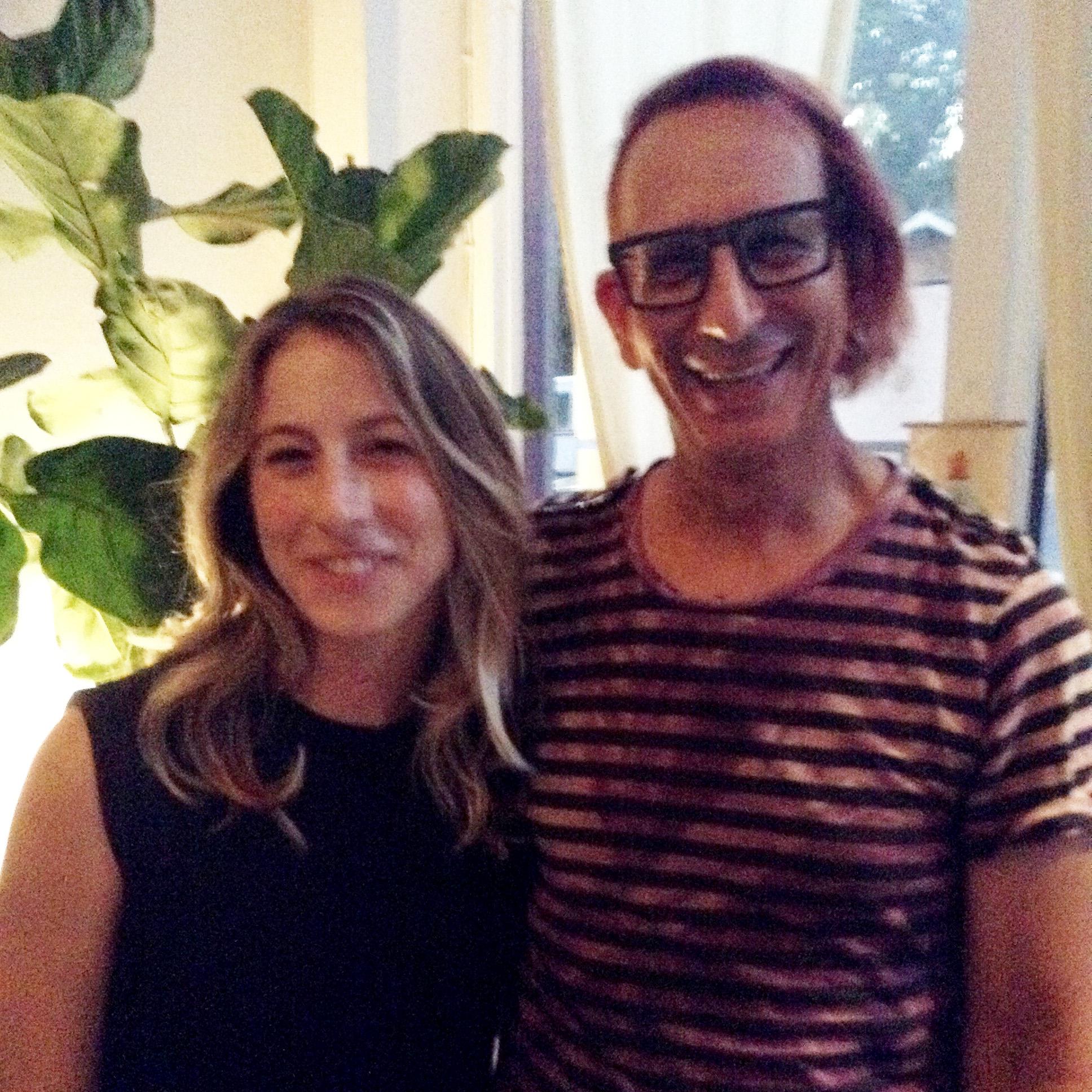 Jessie Barr & Glenn Zucman posing in the lobby of Yogala yoga studio on Echo Park Avenue in Echo Park, CA