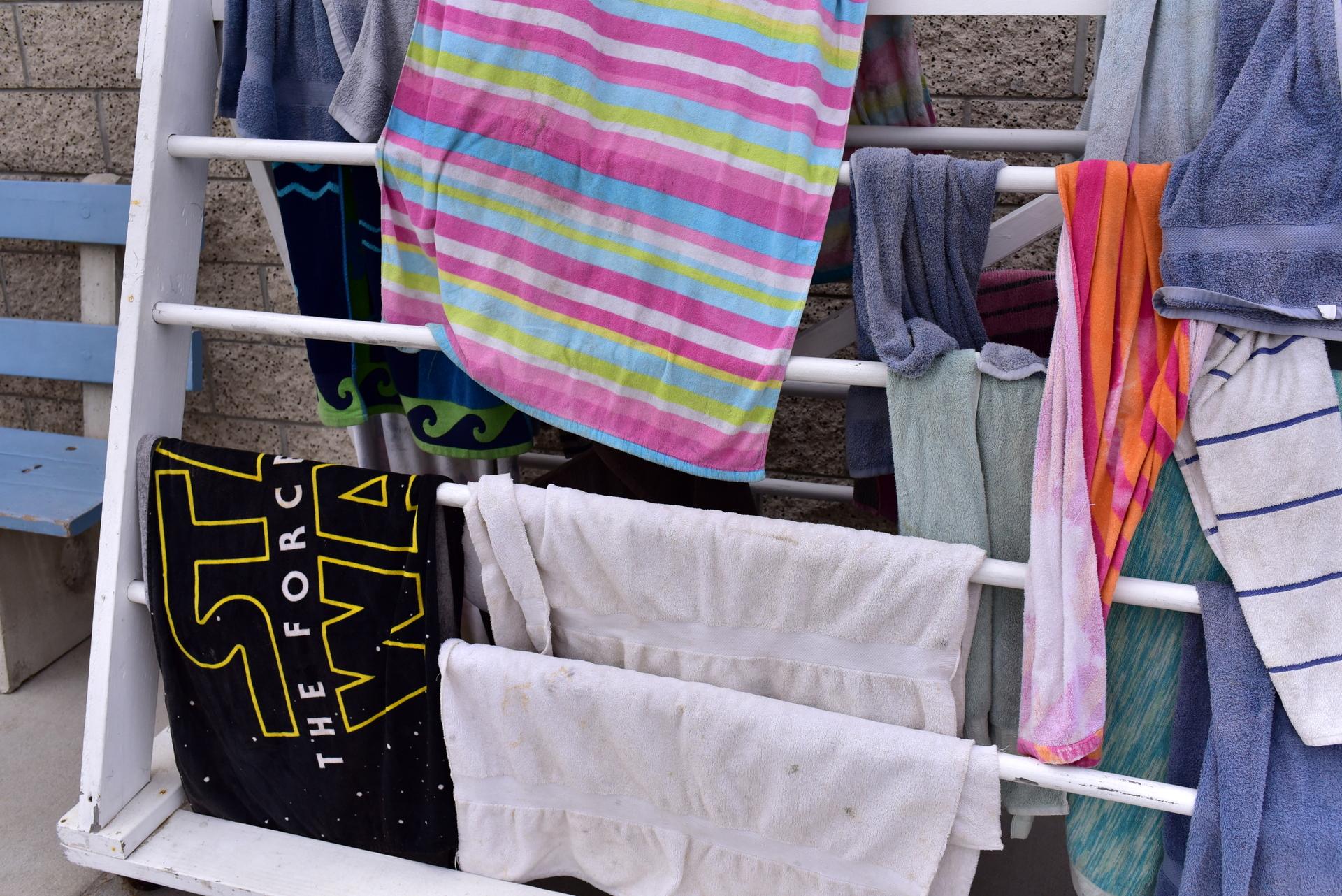 towels on a rack