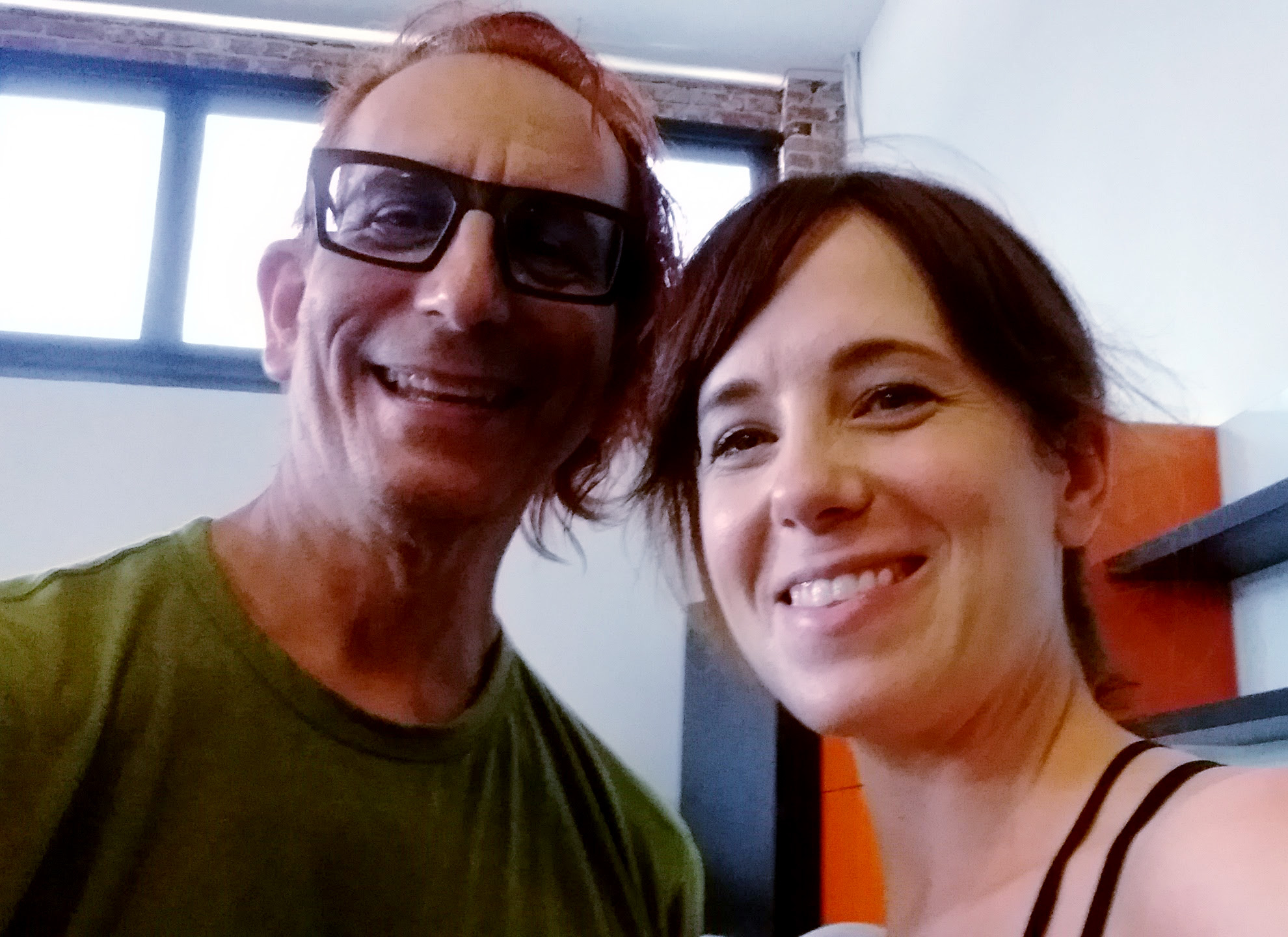 """out of shape old guy, aka """"Me"""", Glenn Zucman, at Pop Physique, Silverlake, CA, 3501 W. Sunset Blvd, LA 26, with Pop Physique founder Jennifer Williams after taking a muscle trembling sweat inducing class with her. But I survived my first class, so yay!"""