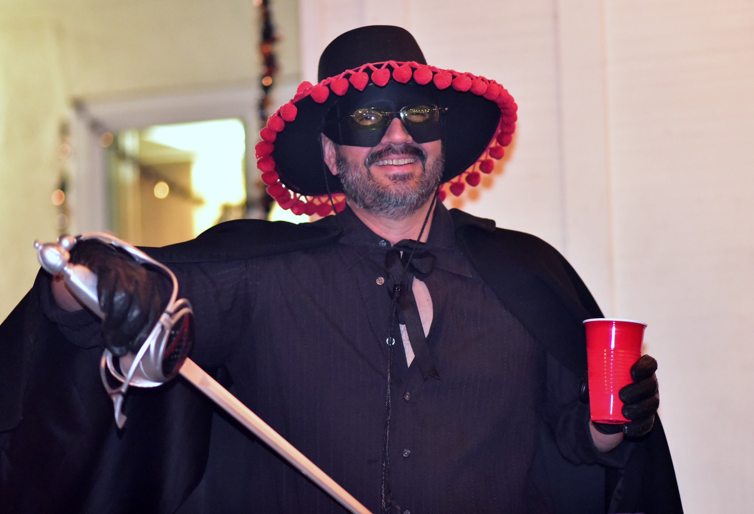 Raul Perez as Zorro at Fritzie & Jimmy Perez' 2016 Halloween Party in Hacienda Heights, CA