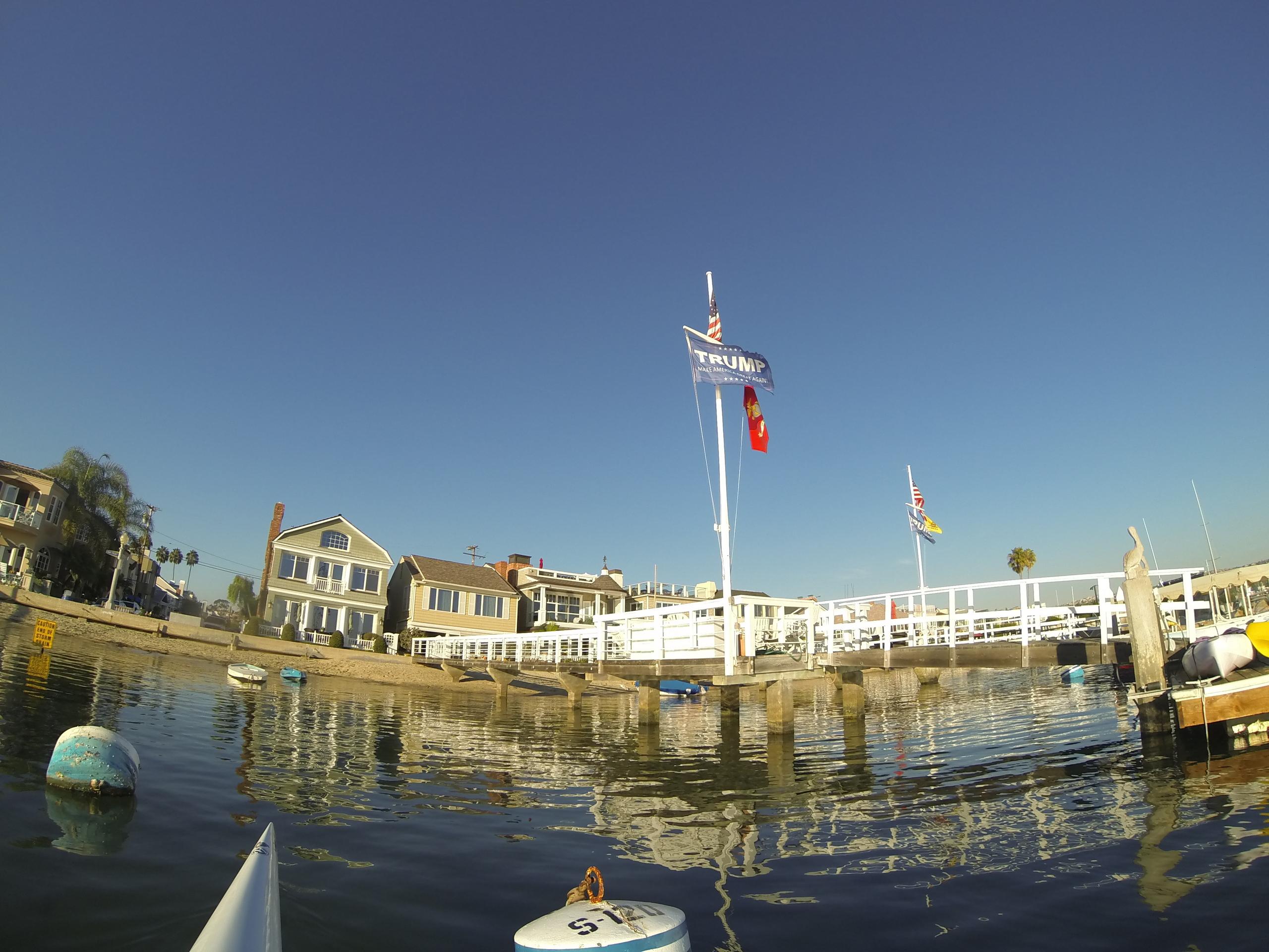 Trump Banners flying in Newport Harbor