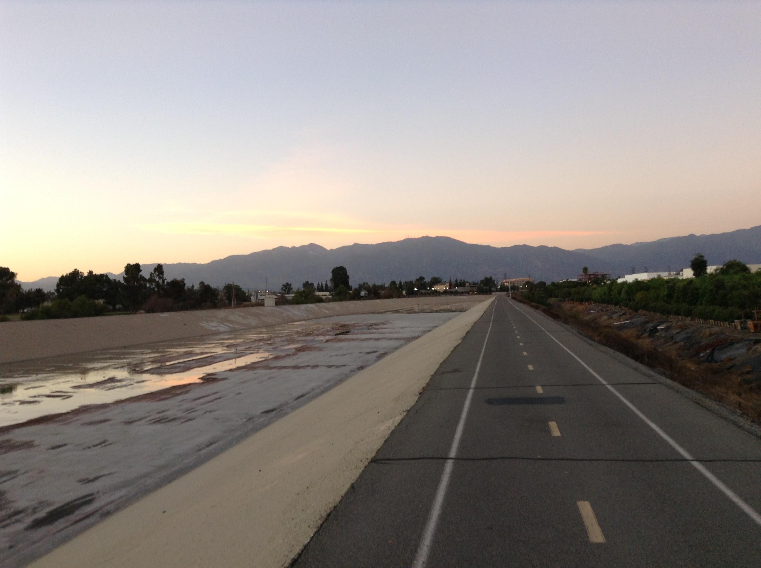 Bike path along San Gabriel River / flood control canal