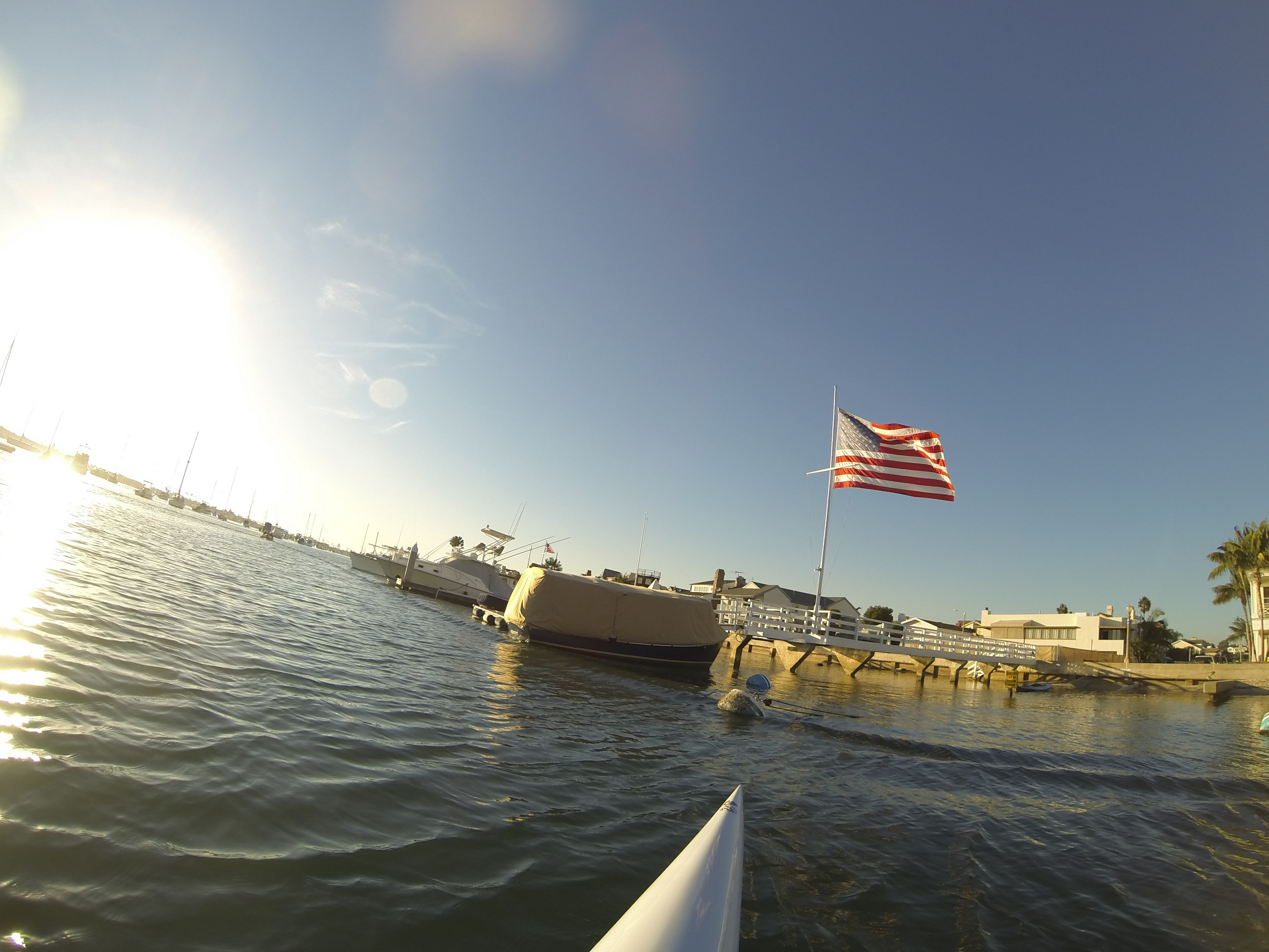 a huge American flag flying in Newport Harbor on Tuesday 8 November '16 - Election Day