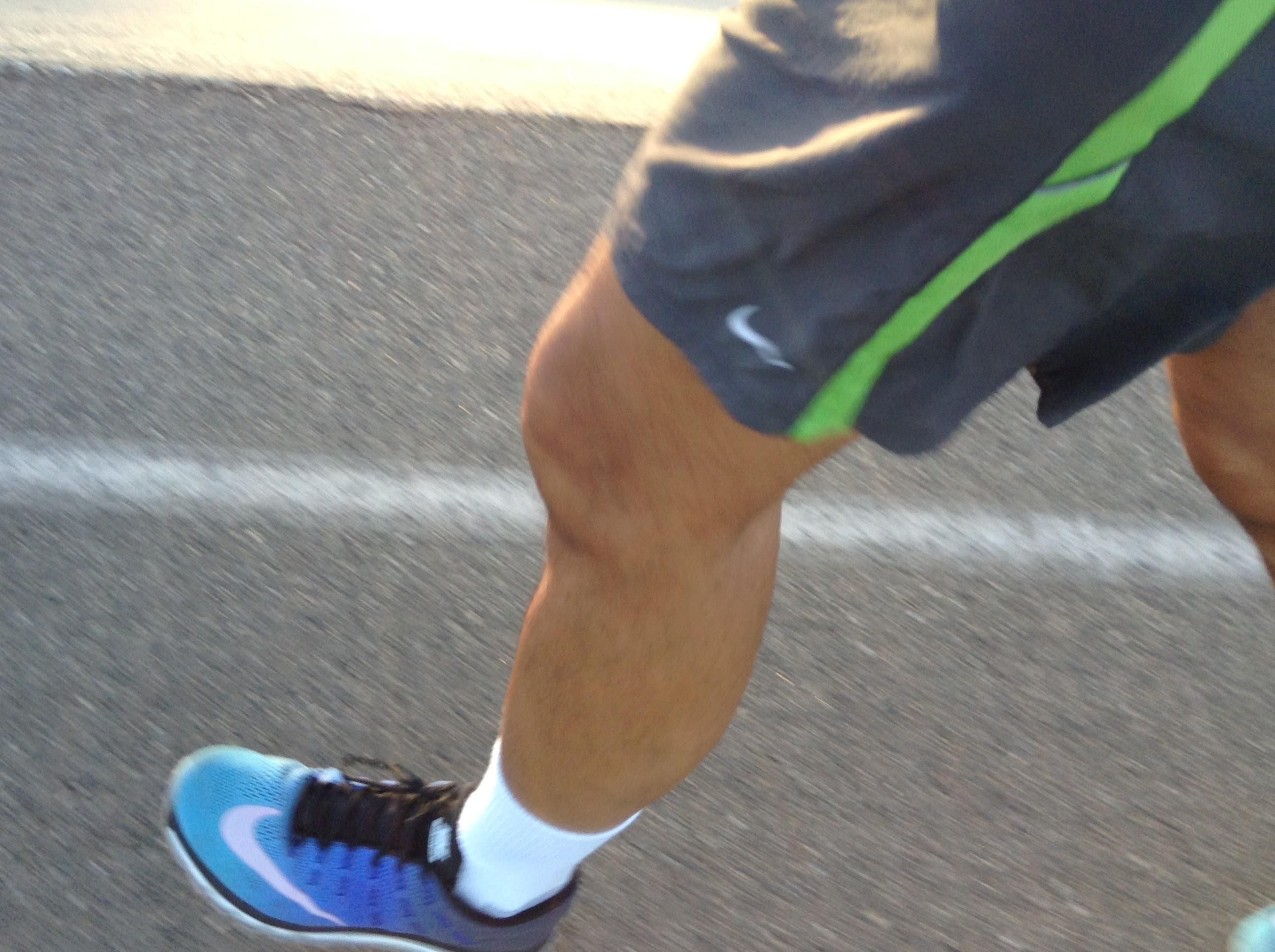 my blue Nike Air Max shoe striking down on the asphalt on the San Gabriel River bike path near Garvey & Rosemead in Rosemead