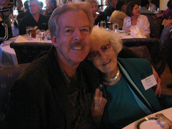 Tony Baxter, Theatre Design, CSULB '61 and Maxine Merlino, Art, CSULB '50 & '52, at Club 33 at Disneyland. 25 March 2009. Merlino introduced Baxter who was speaking that evening.