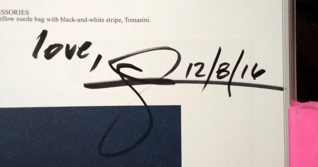 Glenn Zucman's signature on page 91 of Self Service magazine, Issue No44, Spring-Summer 2016