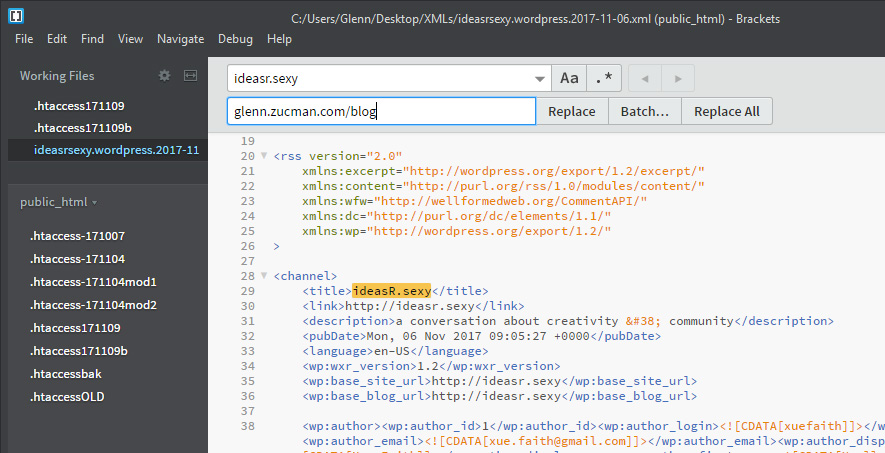 move WordPress: screen capture of Adobe Brackets code editor using the find/replace function