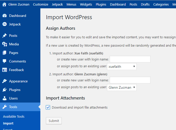 move WordPress: Screen capture of WordPress Importer dialog box