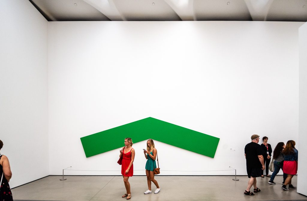 Green Angle, Ellsworth Kelly, 1970, oil on canvas, 17.78 x 5.867 m as installed at The Broad Museum on Grand Avenue in Downtown Los Angeles