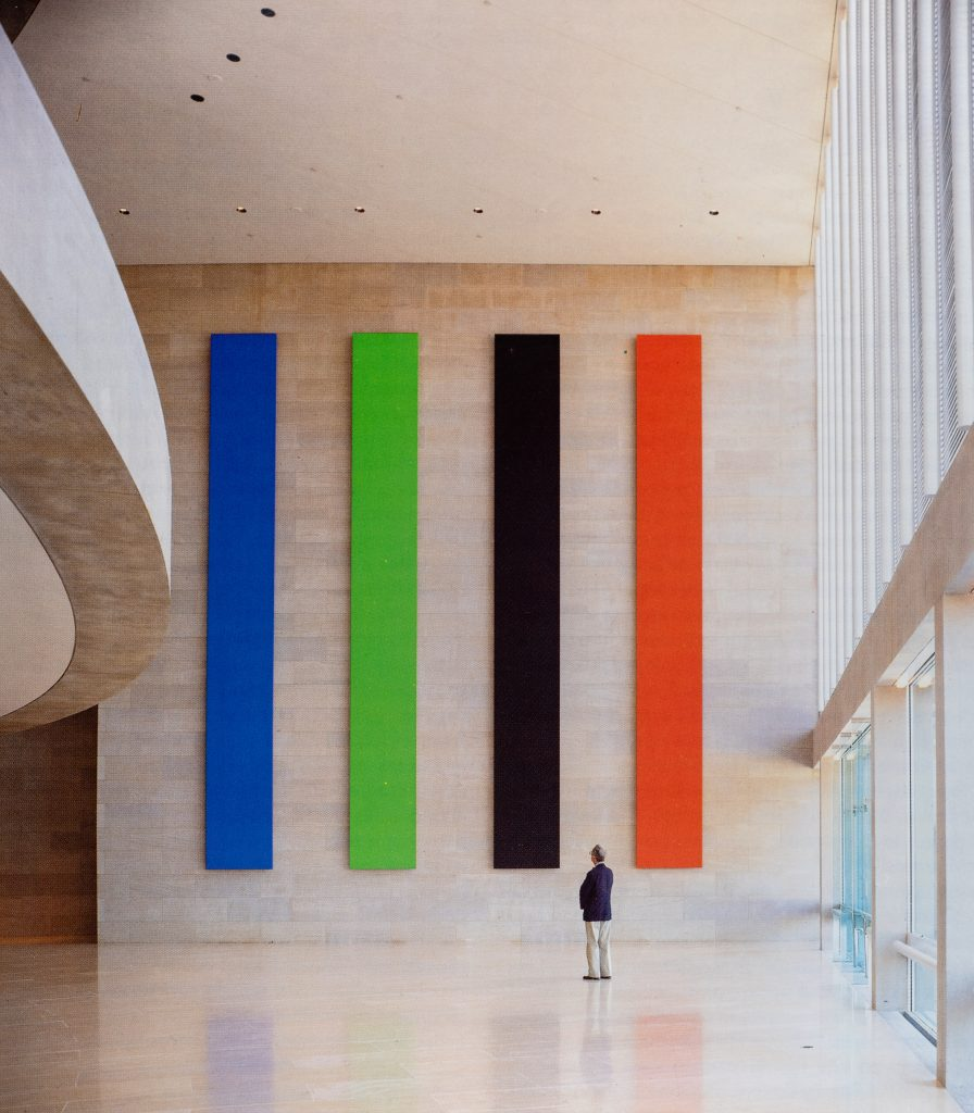 Blue Green Black Red: The Dallas Panels, 1988, Ellsworth Kelly, site-specific painting,  Morton H. Meyerson Symphony Center. Image: Artstudio magazine no. 24, 1992.