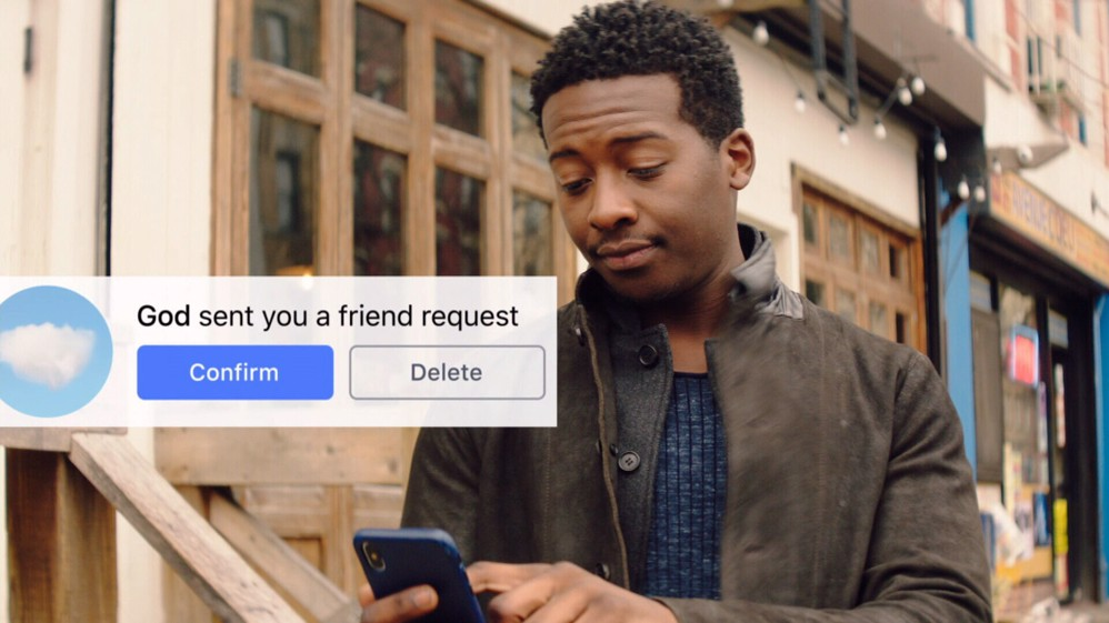 """screen cap of the television series """"God Friended Me""""."""