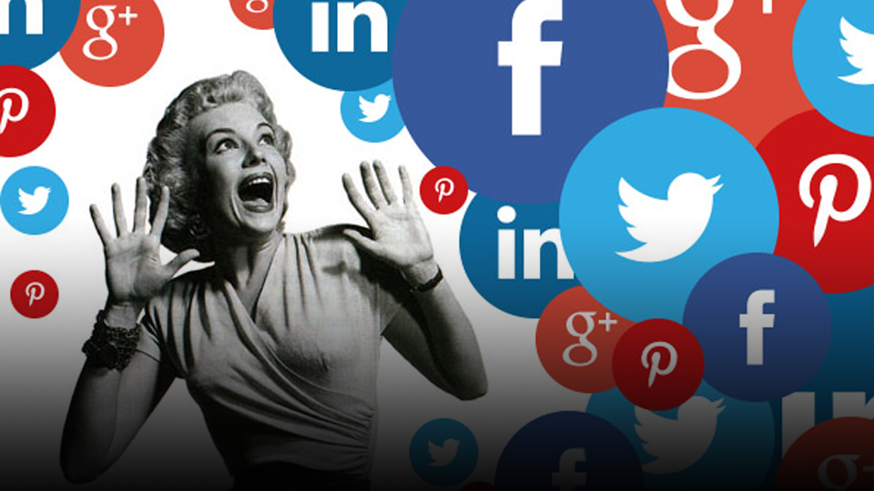 50's style heroine shrieking and surrounded by a sea of Social Media icons