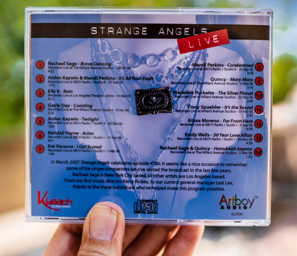 back cover of Strange Angels LIVE CD