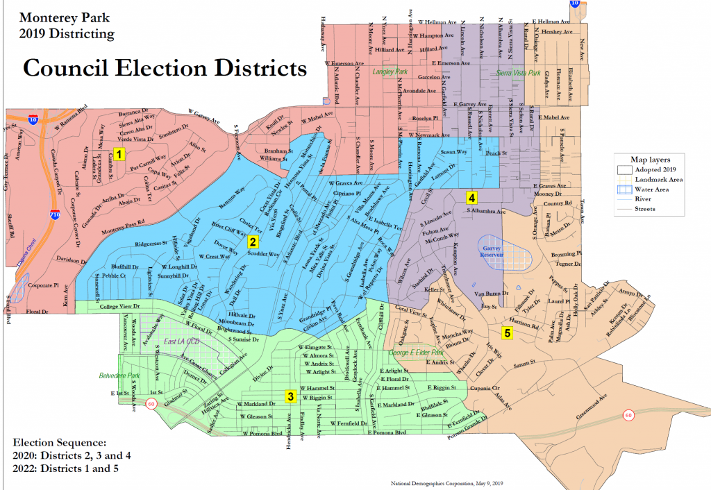 map showing Monterey Park's 5 City Council districts
