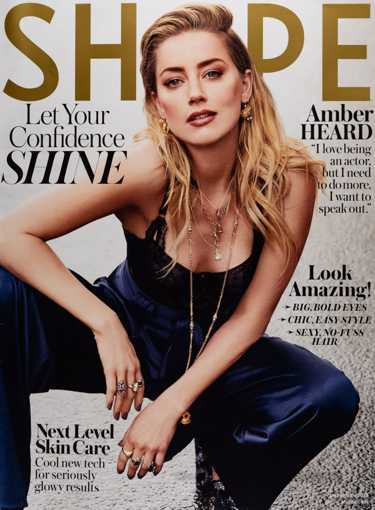 Amber Heard on the cover of Shape Magazine, December 2018