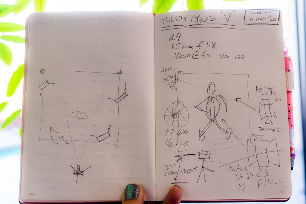 notebook sketch showing the lighting setup for the photo above