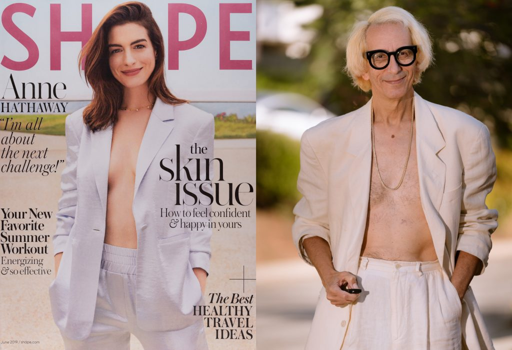 diptych of Anne Hathaway on the cover of Shape Magazine wearing a white suit and Glenn Zucman mirroring her pose.