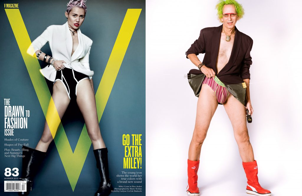 Miley Cyrus photographed by Mario Testino for V Magazine. Glenn Zucman photographed by Vello Wireless Shutterboss.